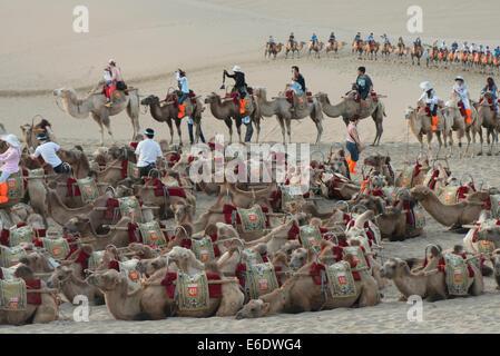 Camels with tourists at Mingsha Shan, Dunhuang, Jiuquan, Gansu Province, China - Stock Photo