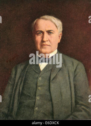 Thomas Alva Edison (1847-1931), American Inventor, Portrait, Postcard, circa, 1910's - Stock Photo