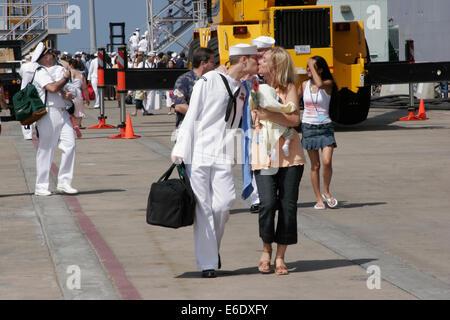 Sailors and Marines Reunite With Their Families, San Diego Naval Base, California, USA. - Stock Photo