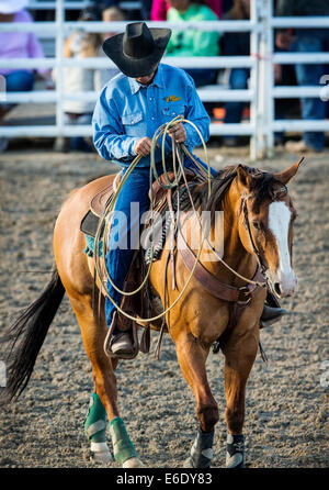 Cowboy on horseback, pick-up man in riding ring, Chaffee County Fair & Rodeo, Central Colorado, USA - Stock Photo