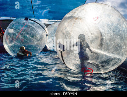 Children play in Water Bubbles, large inflated balls floating in a pool of water, Chaffee County Fair, Colorado, - Stock Photo
