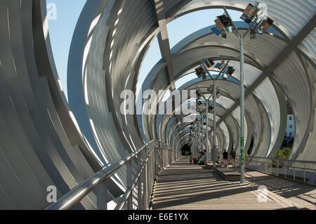 Metal bridge of Madrid río - Stock Photo
