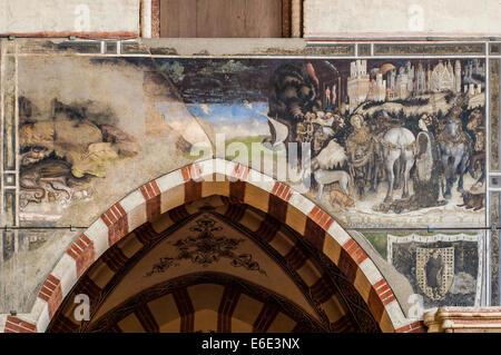 Italy Veneto Verona St. Anastasia church . Pellegrini Chapel fresco by Pisanello St George and the Princess 1433 - Stock Photo
