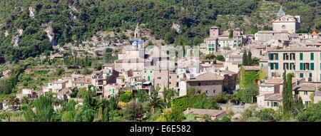 Valldemossa with the Carthusian Valldemossa Charterhouse and the parish church of Sant Bartomeu, Majorca, Balearic - Stock Photo