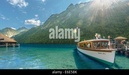 Ship landing in St. Bartholomä, Lake Königssee, Berchtesgaden National Park, Berchtesgadener Land district, Upper - Stock Photo