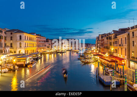 Night view of the Grand Canal from the Rialto bridge, Venice Italy - Stock Photo