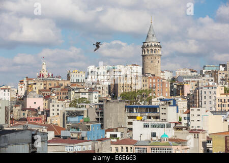 Galata tower and rooftops, Istanbul Turkey - Stock Photo