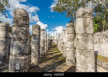 Temple of a Thousand Warriors, Chichen Itza, Mexico - Stock Photo