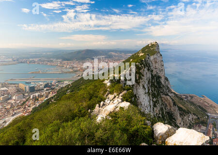The Bay of Algeciras and La Linea, seen from the Rock of Gibraltar - Stock Photo