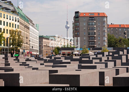 stelae of the  Memorial to the Murdered Jews of Europe or Holocaust Memorial in Berlin, Germany, Europe - Stock Photo