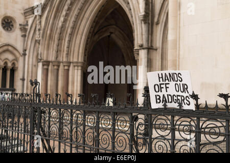 Royal Courts of Justice Badger protest sign. - Stock Photo