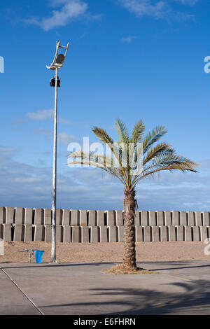 The sea wall built around the man-made beach at Calheta, Madeira. - Stock Photo