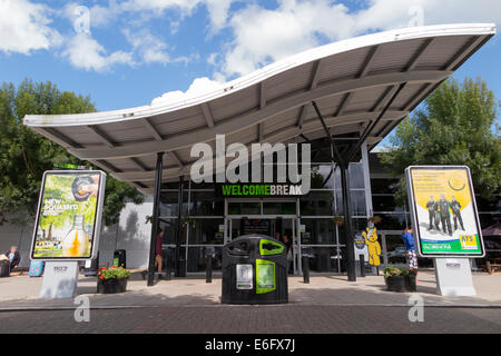 The front of and entrance to the Hopwood Park Welcome Break motorway Services on the M42, south of Birmingham. UK