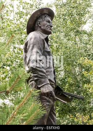 C.M.Russell Museum, CM Russell Statue, Great Falls, MT - Stock Photo