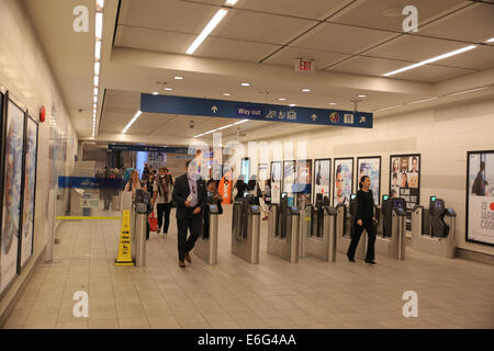 vancouver skytrain station entrance - Stock Photo