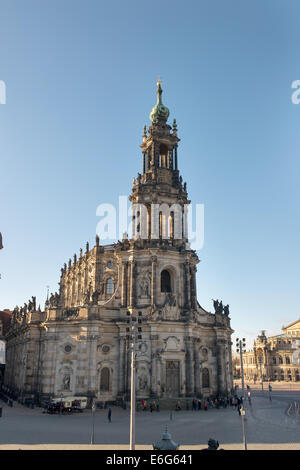 Cathedral of the Holy Trinity (Katholische Hofkirche) in Dresden, Germany - Stock Photo