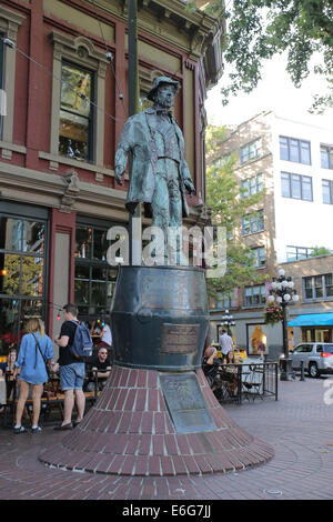 Statue of 'Gassy' Jack, Gastown Vancouver. Gassy Jack is a Yorkshire seaman, steamboat captain and barkeep who arrived - Stock Photo