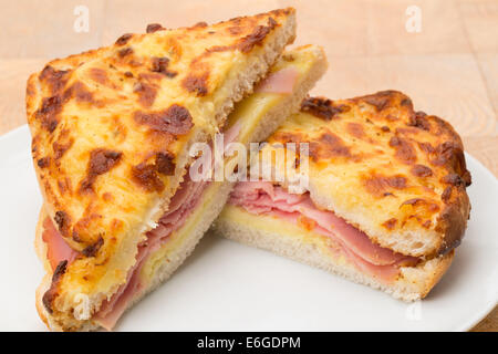 A toasted cheese and ham sandwich or panini - studio shot - Stock Photo