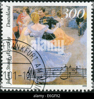 Stamp printed in Germany, 100th anniversary of the death of Johann Strauss, shows Viennese Ball in Hofburg Palace - Stock Photo