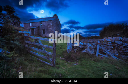 Creepy derelict haunted house under a full moon  (Elements of this  image (moon) furnished by NASA) - Stock Photo