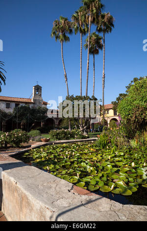 Lily pond in the central courtyard of the Mission San Juan Capistrano, California, USA - Stock Photo