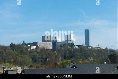 Kirchberg - a European quarter in north-eastern Luxembourg City. Court of Auditors, Court of Justice, European Investment - Stock Photo
