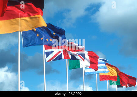 European Union flags - Stock Photo