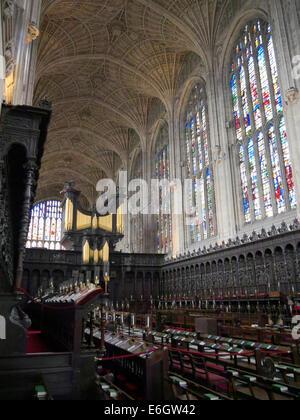 interior of kings college chapel cambridge england, showing the chapel organ - Stock Photo