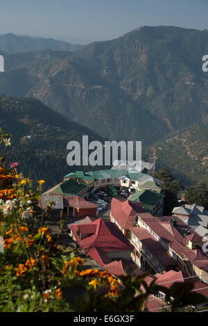 A morning view over part of Shimla suburbs on the Himalayan foothills in  Himachal Pradesh, India, - Stock Photo