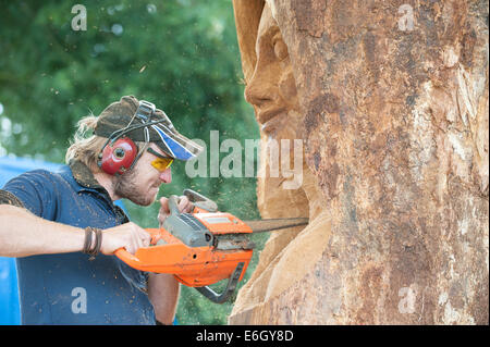 Knutsford, Cheshire, UK. 23rd Aug, 2014. Carver, Sebastian Seiffert of Germany competing in the 10th English Open - Stock Photo