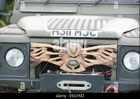 Knutsford, Cheshire, UK. 23rd Aug, 2014. Competitor's car in the 10th English Open Chainsaw Carving Competition - Stock Photo
