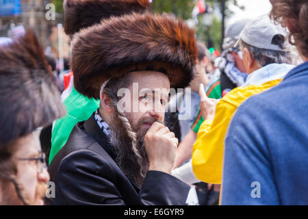 London, August 23rd 2014. Jews from the Naturei Karta sect who are opposed to Zionism join protesters outside Downing - Stock Photo