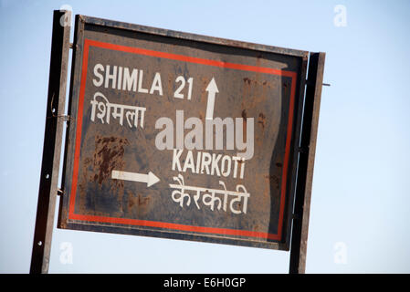 An India road sign in the Himalayan foothills, Himachal Pradesh,India - Stock Photo