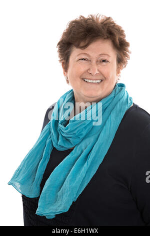Portrait of a satisfied happy older woman isolated over white. - Stock Photo