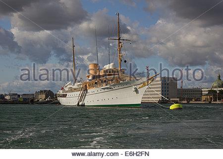 The Danish Royal Yacht (HDMY Dannebrog) moored in Copenhagen Harbour. - Stock Photo