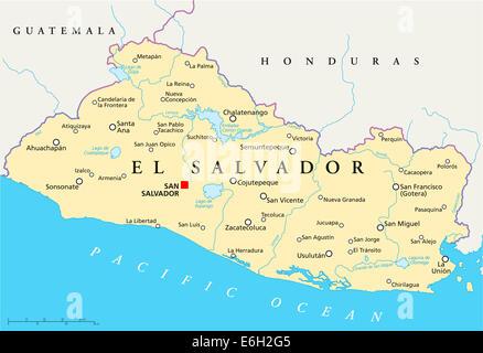 El Salvador political map with capital San Salvador national