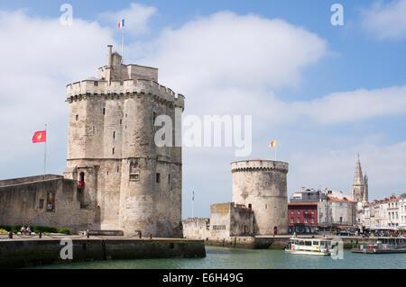 Solar powered ferry leaving La Rochelle harbour, Charente-Maritime, France, Europe - Stock Photo