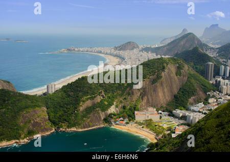 Praia Vermelha and copacabana beach from Pão de Açúcar (sugarloaf mountain) - Stock Photo