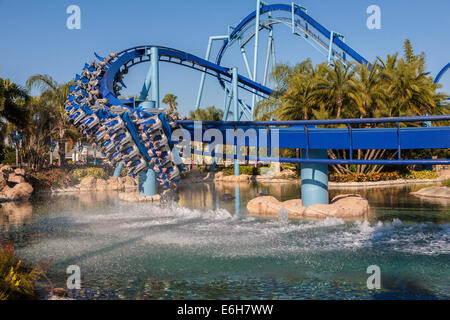 Manta roller coaster at Sea World in Orlando, Florida - Stock Photo