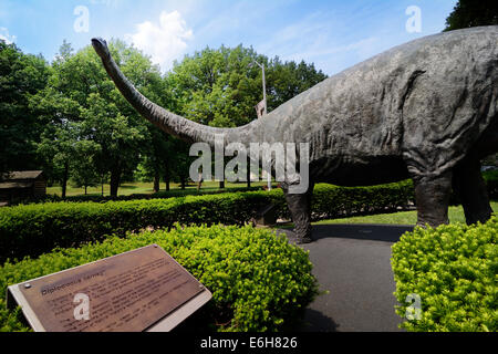 """The """"Dippy"""" sculpture of a Diplodocus dinosaur greets visitors to the Carnegie Museum of Natural History in Pittsburgh, - Stock Photo"""