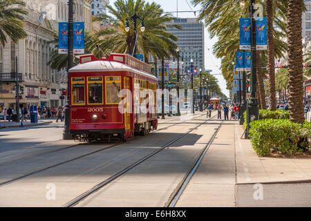 Streetcar on Canal Street in downtown New Orleans, Louisiana - Stock Photo