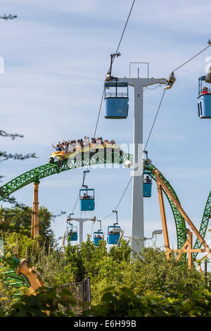 ... Park Guests Riding Cheetah Hunt Roller Coaster Under The Skyride At Busch  Gardens Tampa Bay In