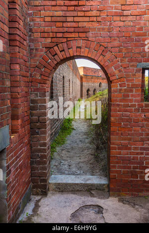 Arched doorway inside the walls of Fort Clinch in Fort Clinch State Park at Fernandina Beach, Florida - Stock Photo