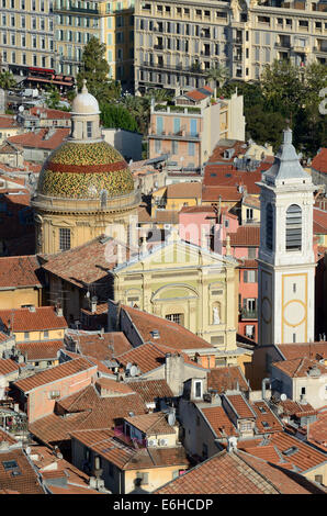 Aerial View of the Baroque Sainte-Réparade Cathedral in the Old Town Nice Alpes-Maritimes France - Stock Photo