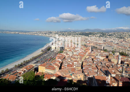 Panoramic or Aerial View of the Old Town The Promenade des Anglais and the City of  Nice from the Castle Alpes-Maritimes - Stock Photo