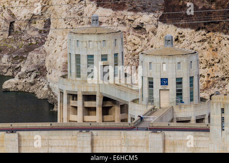 Water intake towers at Hoover Dam in the Black Canyon of the Colorado River near Boulder City, Nevada - Stock Photo