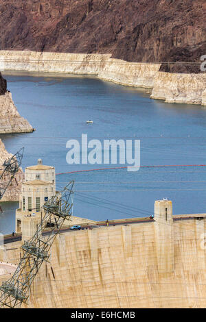 Lake Mead behind the Hoover Dam in the Black Canyon of the Colorado River near Boulder City, Nevada - Stock Photo