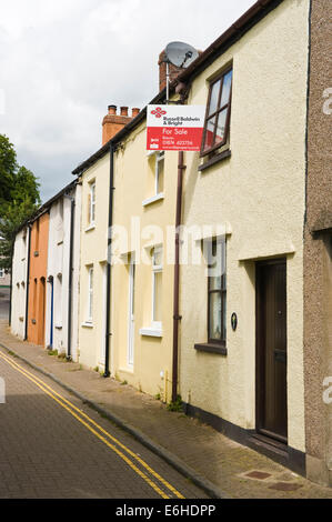 Terraced house for sale in Brecon Powys Wales UK - Stock Photo