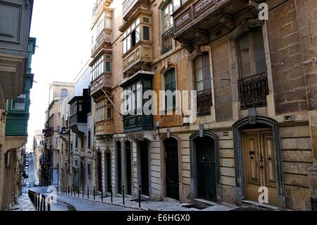 a row of majestic old buildings in the centre of Valletta, Malta, a Unesco world heritage site. - Stock Photo