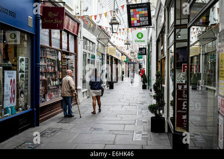 The Royal Arcade in Cardiff. - Stock Photo